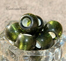 Rondelle Pony  Beads, Large Hole, 12mm, PERIDOT w/Silver Lining, 4 PCS, 0007