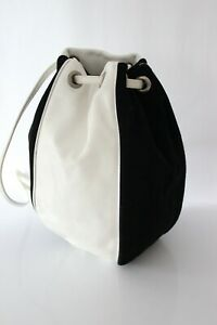 Vintage Bag Bucket Back Or Shoulder White Leather And Black Suede Very Good