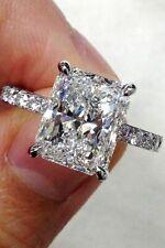 2.00Ct Radiant Cut Real Moissanite Diamond Rings 14k White Gold Engagement Rings