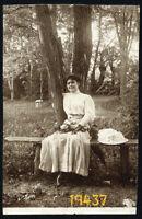 autumn, elegant woman on bench, hat umbrella, Vintage Photograph, 1910's Hungary