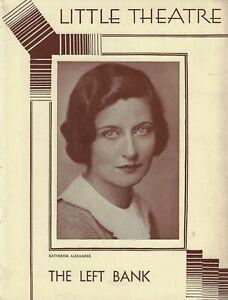 "Katherine Alexander ""THE LEFT BANK"" Alfred A. Hesse / Elmer Rice 1931 Playbill"