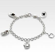 New Authentic Gucci Sterling Silver Bracelet w/Teddy Bear Horsebit Charm, 258890