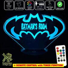 BATMAN GOTHAM BATARANG LOGO Personalised Name LED Night Light 7 Colour + Remote