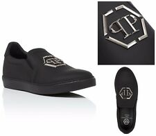 PHILIPP PLEIN PP LOGO BLACK TRAINERS SHOES. UK 10 - EU 44 - US 11 - 29 CM