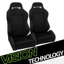 T-R Blk Cloth Fabric Red Stitch Reclinable Racing Bucket Seats w/Sliders L+R V07