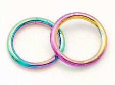 """Pair 16g 3/8"""" (10mm) Rainbow Titanium Plated Segment Rings Lip, Eyebrows, Tragus"""