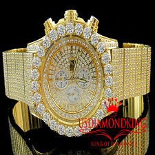 MEN YELLOW GOLD FINISH AP STYLE FULL STAINLESS STEEL LAB DIAMOND ICED OUT WATCH