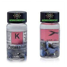 Potassium metal element 19 K sample of 1 gram 99,8% pure in labeled glass vial