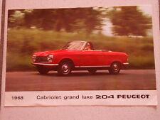 RARE DÉPLIANT PEUGEOT 204 CABRIOLET ET COUPE GRAND LUXE 1968  6 PAGES
