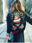 ZARA BLACK FAUX LEATHER EMBROIDERED STUDDED PUNK ROCK BOMBER JACKET SIZE M