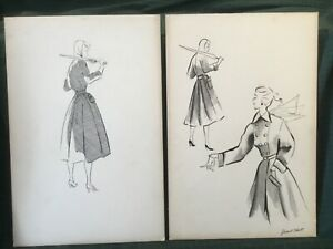 PAIR OF VINTAGE WOMEN'S FASHION ILLUSTRATIONS SKETCHES MID CENTURY INK DRAWINGS