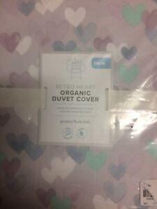 POTTERY BARN KIDS Retro Heart Cotton TWIN Duvet Cover - NEW - Lavender