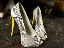 ❤️ Sexy RIVER ISLAND Leather Reptile Peep Toe Platform Stiletto Heels UK8 RRP£60