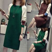 Women Autumn Fashion Korean Loose Dress Knitted Long Sleeve Sweater Dresses USA