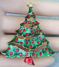 Vintage Enameled Rhinestone Christmas Tree Holiday Brooch Pin