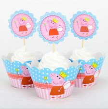 12x PEPPA PIG Brithday Children Party Cupcake Cake Wrapper & Toppers *NEW