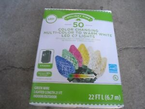 50ct Diamond Cut C7 LED Color Changing Christmas Light Multi-Color to Warm White