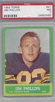 1963 Topps vintage football Card #41 Jim Phillips, Los Angeles Rams PSA 7 NM