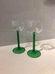 """2 Vintage Green Stem Hock Glasses 6.5"""". High"""