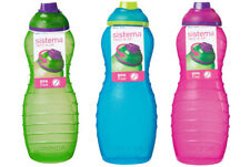 3 Sistema 700ml Twist n Sip Drinks Water Bottles Plastic Pink Blue Green