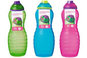 3 Sistema 700ml Twist n Sip Drinks Water Bottles Plastic Pink Blue Green