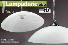 LAMPADARIO H40CM SOSPENSIONE VETRO CUCINA SALOTTO CLASSICO BIANCO STR ORM 665011