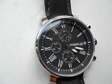 Brand new Fossil chronograph men's black leather Analog dress watch.BQ-1006