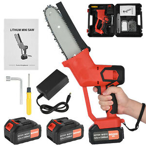 Cordless Mini Chainsaw Electric One-Hand Saw Woodworking Wood Cutter w/ Battery