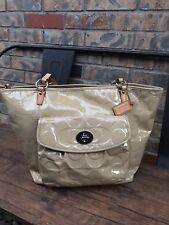 Coach Leah Embossed Patent Leather Tote Handbag Purse Large Beige Signature Logo
