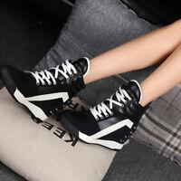 Women's New Sneakers Platform Trainer Shoes High Heel Wedge Lace Top Hidden Up