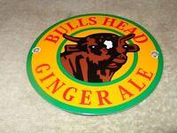"VINTAGE BULLS HEAD GINGER ALE W/ BULL  6"" PORCELAIN METAL GAS OIL SODA POP SIGN!"
