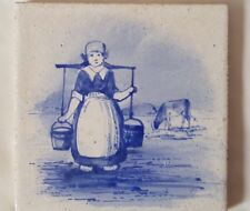 MAW & CO BLUE & WHITE TILE FEATURING MILK MAIDEN WITH COW. 5 INCH SQUARE