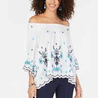 Style & Co. Womens Blouse Off The Shoulder 3/4 Sleeve White Blue Petite PS New