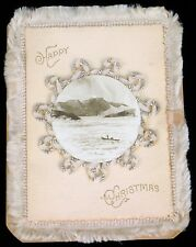 ANTIQUE HAPPY MERRY CHRISTMAS CARD FISHING WHALING HARPOON ROCKY COAST HAND MADE