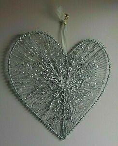 LRG 33cm  SILVER GLITTER  WALL HANGING HEART>BIRTHDAY?VALENTINE GIFT