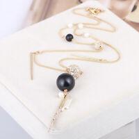 Alexis Bittar Black Wooden Beads Diamond Pom-Pom Long Tassel Necklace