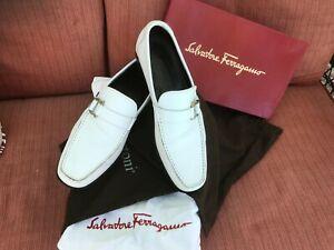 Salvatore Ferragamo Men's White Leather Dress Shoes Horse Bit Strap Size 9D
