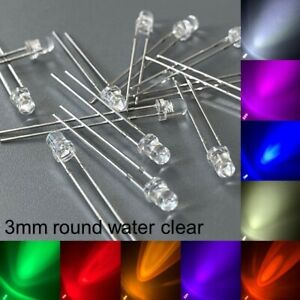 3mm round Water Clear LED Bulb All Colours Light Emitting Diode + Resistor