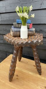 Lovely Hand Carved Vintage Tripod Stool / Plant Stand