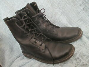 CLARKS ORIGINAL WOMENS BLACK LEATHER LACE UP MID CALF BOOTS, SIZE 7.5M