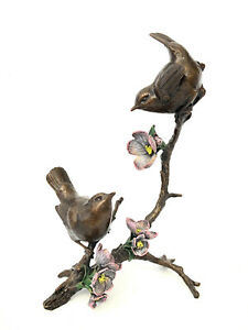 Richard Cooper Art in Bronze Apple Blossom Pair of Wrens Limited Edition of 150