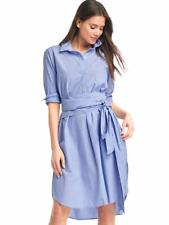 NWT Gap front-tie Midi Shirtdress, Blue SIZE  XS       #638262  v527