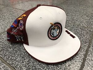 7 5/8 Vintage NWT Negro League Fitted Baseball Cap Hat Maroon White Team Logos