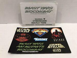 1997 GENUINE Transformers Beast Wars Maximal CYBERSHARK Instructions + Leaflet