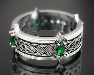 Unique Elves Men's Cerakote Engagement Band Celtic Pattern Ring In 925 Silver