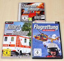 3 PC SPIELE SAMMLUNG FLUGRETTUNG NOTARZT FEUERWEHR 2010 SIMULATOR - NOTFALL ARZT