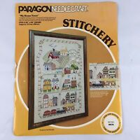 "Vintage Paragon Creative Crewel Stitchery MY HOME TOWN Kit 0870 20"" x 26"""