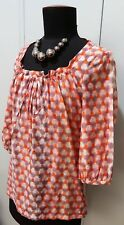 Immaculate Size 8 David Lawrence Lilac & Orange Cotton/Silk  Blouse- 48cm Bust