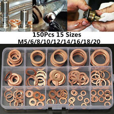 150x Engine Oil Drain Copper Crush Washer Gasket Flat Ring Seal Assorted 15 Size