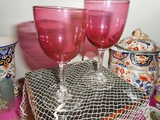 Two antique Victorian ruby glass wine glasses